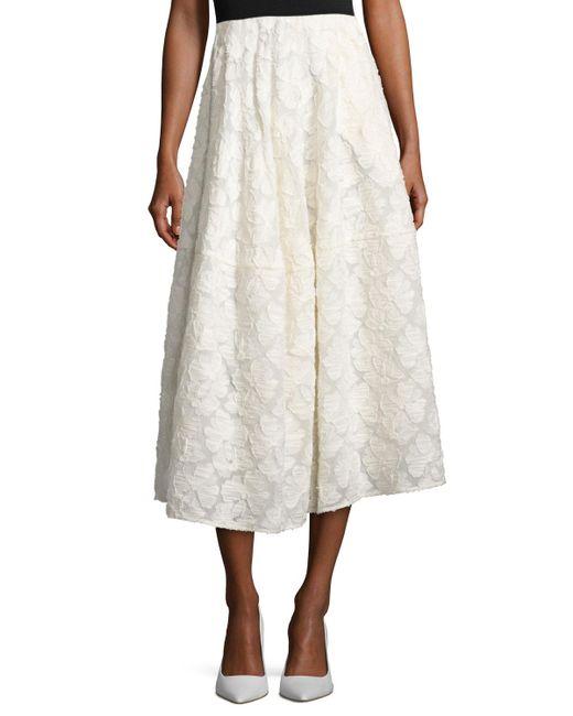 Co. | White Floral Fil Upé A-line Tea-length Skirt | Lyst
