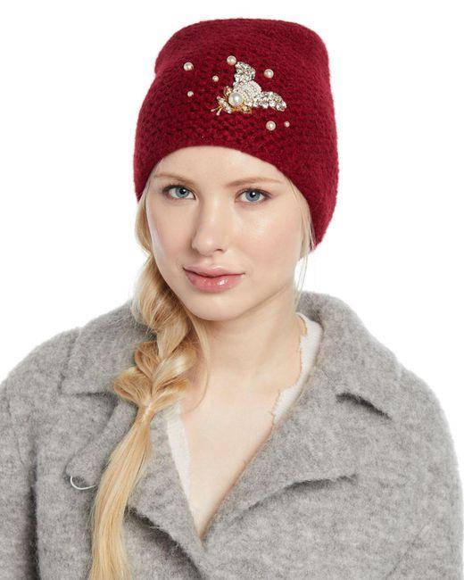 Jennifer Behr - Red Embellished Bee Knit Beanie Hat - Lyst