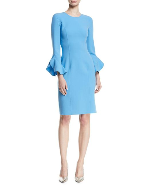 Michael Kors - Blue Jewel-neck Ruffle-sleeve Stretch-wool Crepe Sheath Dress - Lyst