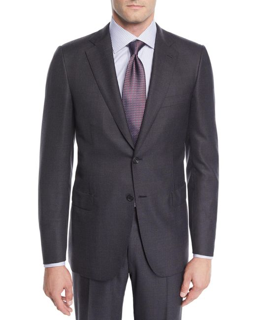 Brioni Gray Men's Wool Windowpane Two-piece Suit for men