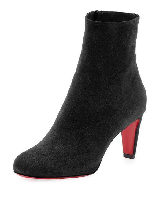 Christian Louboutin | Black Top Suede Red-Sole Boots | Lyst