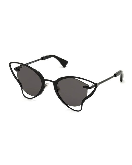 Moncler Black Semi-rimless Cutout Butterfly Sunglasses