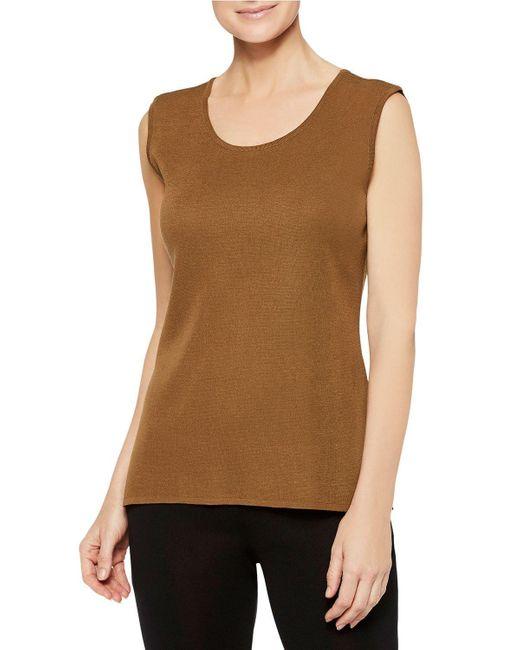 Misook Brown Plus Size Knit Scoop-neck Tank