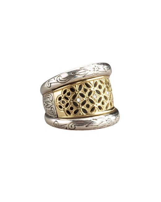 Konstantino Metallic Lattice Diamond Ring
