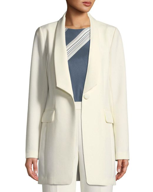 St. John - Natural Bella Double Weave Jacket W/ Angled Shawl Collar - Lyst