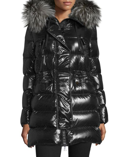 Moncler Aphrotiti Shiny Quilted Down Coat W Fur Hood In