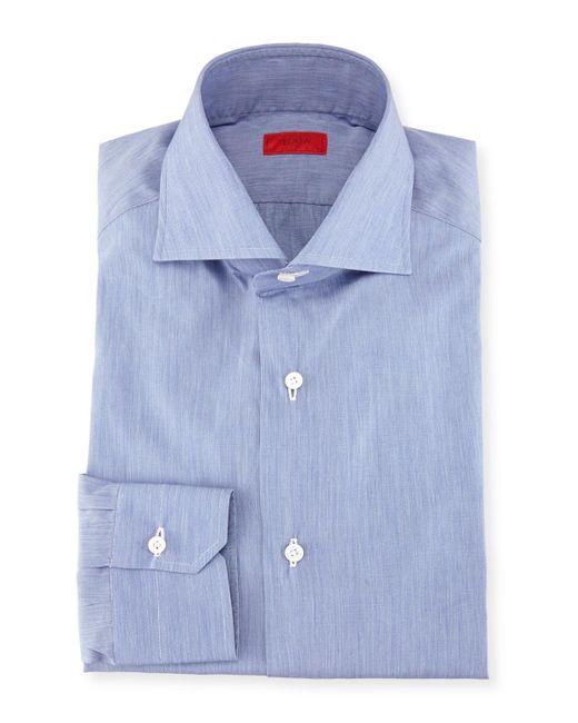 Isaia Blue Slim-fit Basic Solid Cotton Dress Shirt for men
