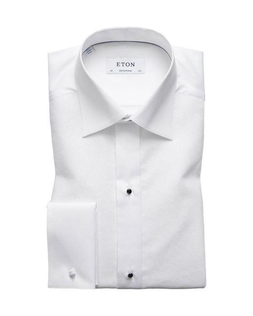 Eton of Sweden Contemporary-fit Fancy Metallic-stripe Formal Shirt White for men
