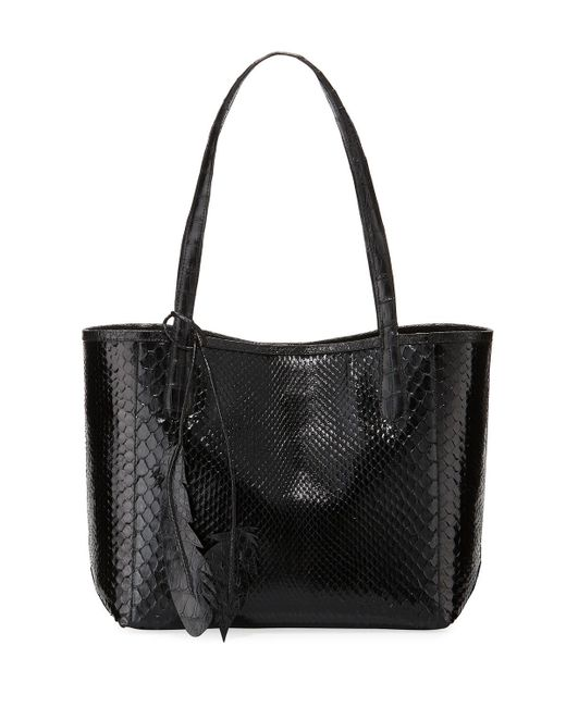 Nancy Gonzalez | Black Erica Small New Python Leaf Tote Bag | Lyst