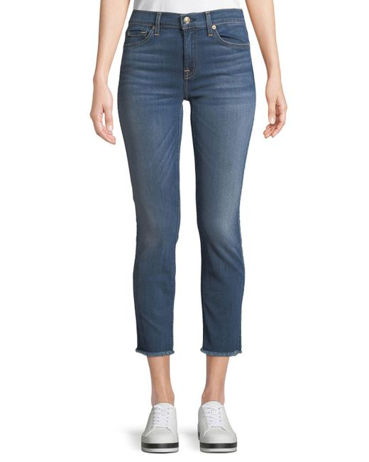 7 For All Mankind - Blue Roxanne Straight-leg Ankle Fray-hem Jeans - Lyst