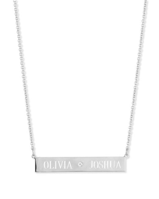 Sarah Chloe Metallic Leigh Engraved Bar Pendant Necklace With Diamond
