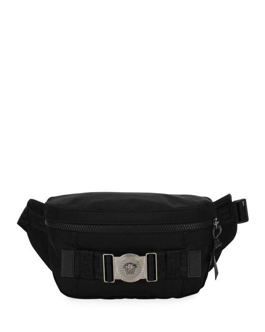 Lyst - Versace Men s Logo-medallion Nylon Belt Bag in Black for Men c0226ea827617