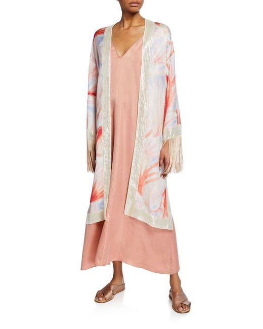 Forte Forte Pink Panarea-print Silk Fringe Kimono