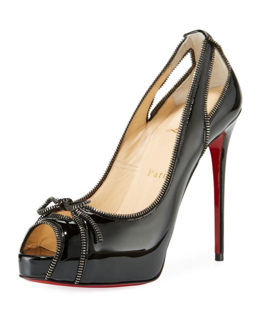 Christian Louboutin - Black Colbina Zipper-trim Patent Red Sole Pump - Lyst