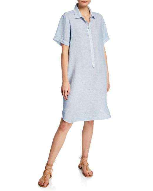 d28269d156 Lyst - 120% Lino Short-sleeve Linen Pocket Shirtdress in Blue