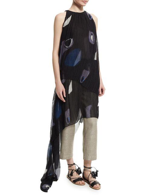 Adam Lippes   Black Sleeveless Pleated Asymmetric Gown   Lyst