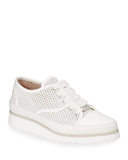 Donald J Pliner White Flipp Perforated Leather Sneakers