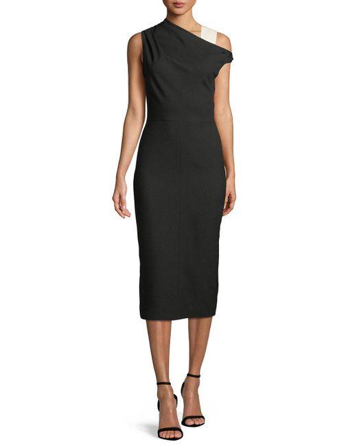 Narciso Rodriguez - Black One-shoulder Wool Midi Sheath Dress - Lyst
