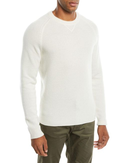 Neiman Marcus - White Men's Tuck-stitch Cashmere Crewneck Sweater for Men - Lyst