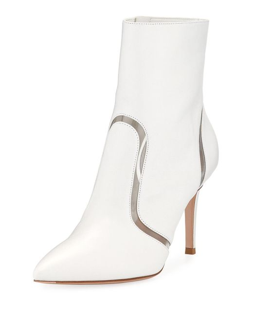 Gianvito Rossi - White Leather & Vinyl Point-toe Booties - Lyst