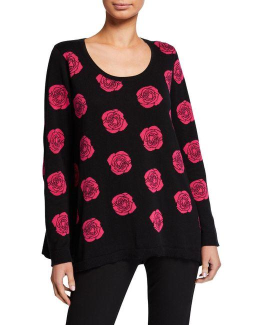 Joan Vass Multicolor Petite Falling Rose Intarsia Cotton Sweater