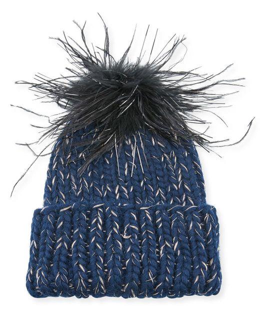 Eugenia Kim Blue Rain Knit Beanie Hat W/ Feather Pompom