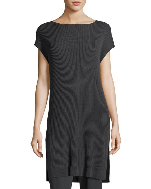 Eileen Fisher - Black Cap-sleeve Bateau-neck ® Ribbed Tunic - Lyst