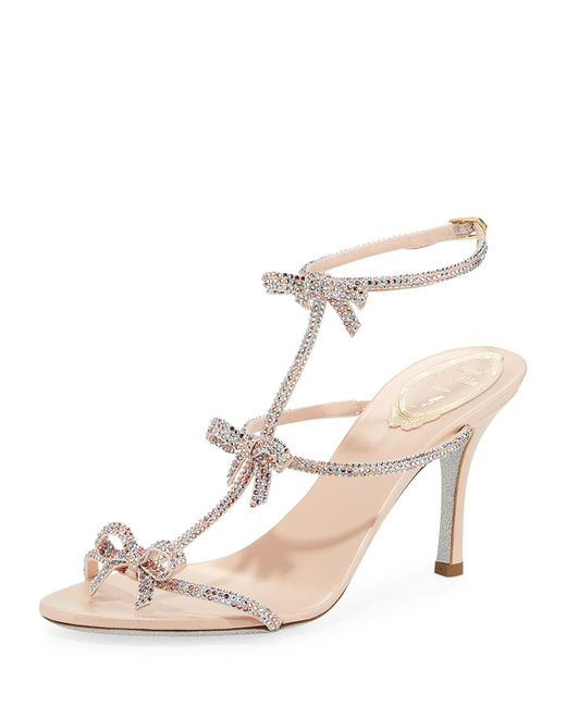 Rene Caovilla - Pink Mid-heel T-strap Sandal With Bows - Lyst