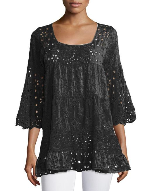 Johnny Was | Blue Bell-sleeve Eyelet Tiered Tunic | Lyst