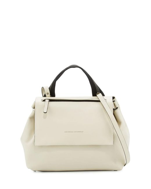 Brunello Cucinelli - Natural Medium Leather Satchel Bag - Lyst
