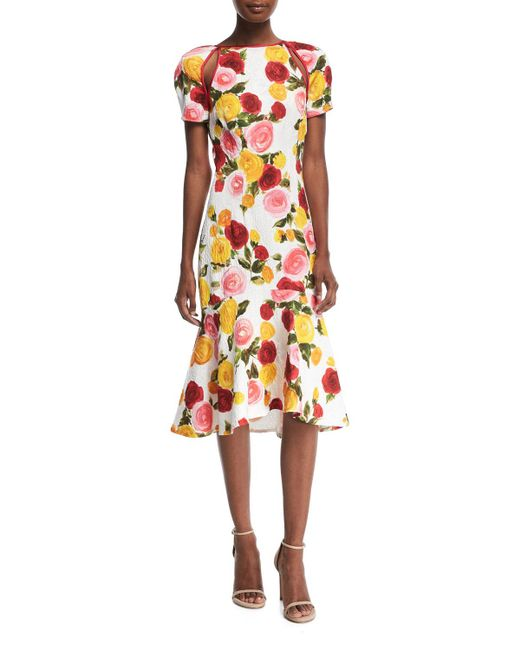 Naeem Khan - White High-neck Floral-print Matelassé Midi Cocktail Dress - Lyst