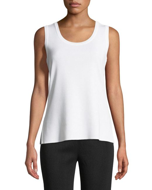 Misook White Double-scoop Tank Top
