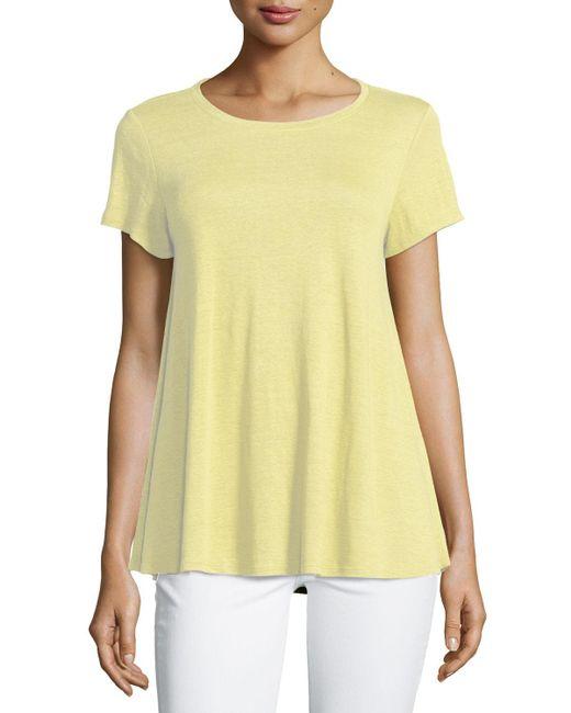 Eileen Fisher - Black Short-sleeve Organic Linen Jersey Tee - Lyst