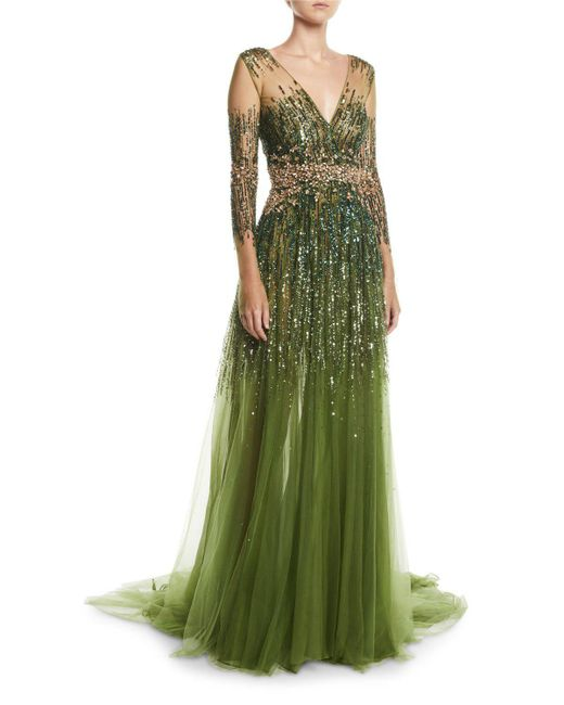 Pamella Roland Crystal Embellished A-line Gown in Green - Lyst ba8920cb2