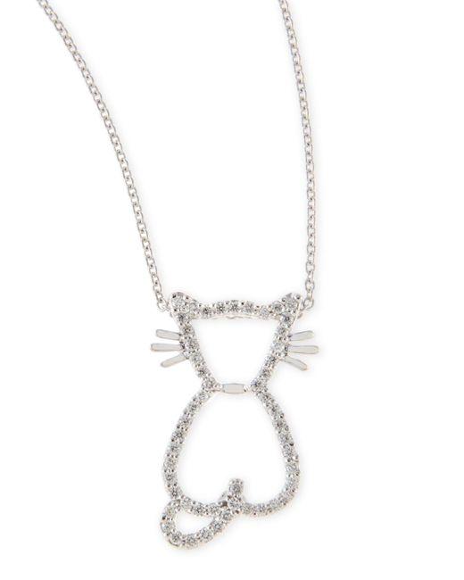 Roberto Coin White Pave Diamond Cat Pendant Necklace