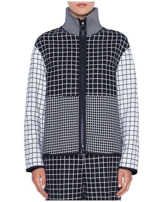 Akris Punto Black Mixed-grid Stand-collar Zip-front Jacket