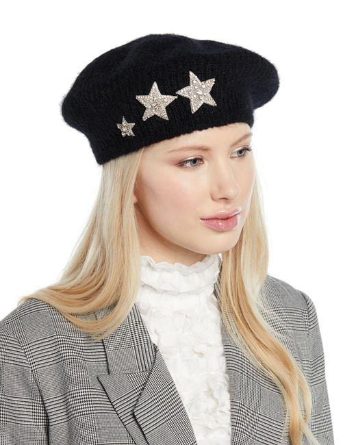 Jennifer Behr - Black Estrella Mohair-blend Knit Beret W/ Embellished Stars - Lyst