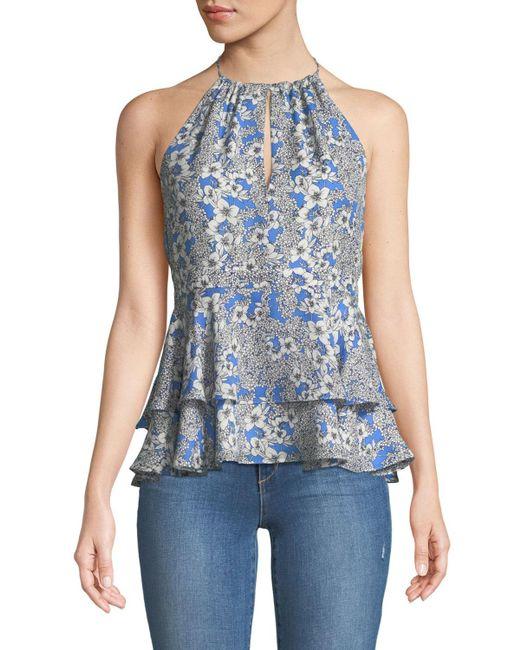 Parker - Blue Dawson Sleeveless Floral-print Peplum Silk Top - Lyst