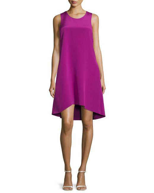 3.1 Phillip Lim - Purple Sleeveless Ruffle-trim Silk Shift Dress - Lyst