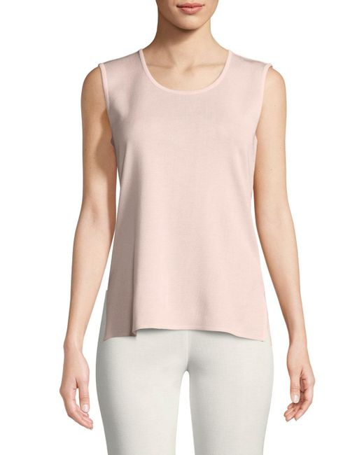 Misook Pink Classic Solid Knit Tank, Blush