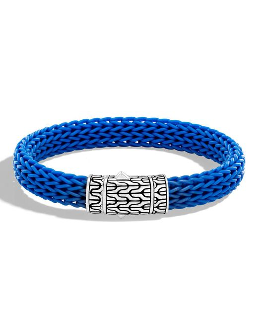 John Hardy - Blue Classic Chain 10.5mm Station Bracelet In Silver And Rubber for Men - Lyst