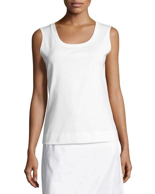 Lafayette 148 New York - White Scoop-neck Sleeveless Cotton Tee - Lyst