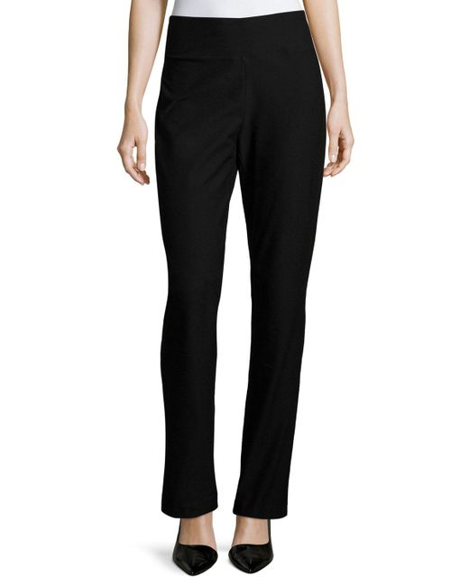Eileen Fisher - Black Stretch Crepe Boot-cut Pants - Lyst