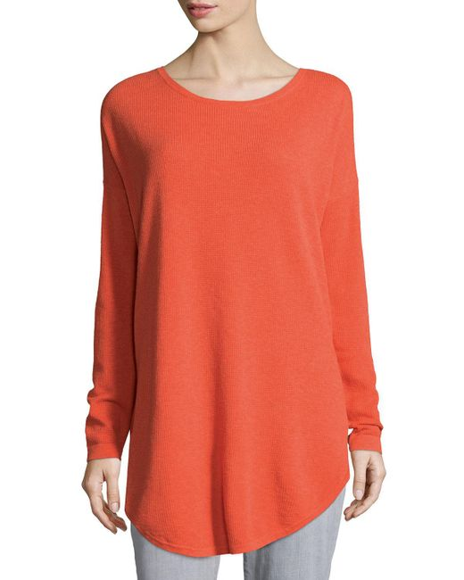 Eileen Fisher - Multicolor Long-sleeve Waffle Tunic - Lyst