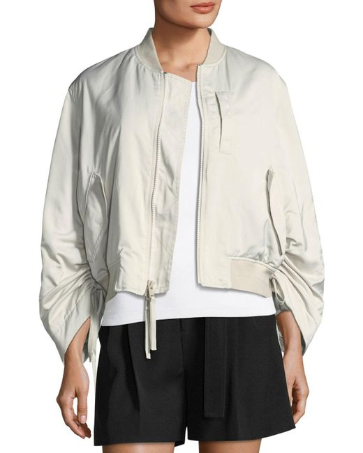 Vince Multicolor Ruched-sleeve Parachute Bomber Jacket