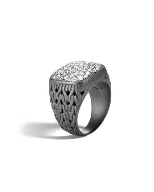 John Hardy - Black Men's Classic Chain Rhodium-plated Signet Ring With Diamonds for Men - Lyst