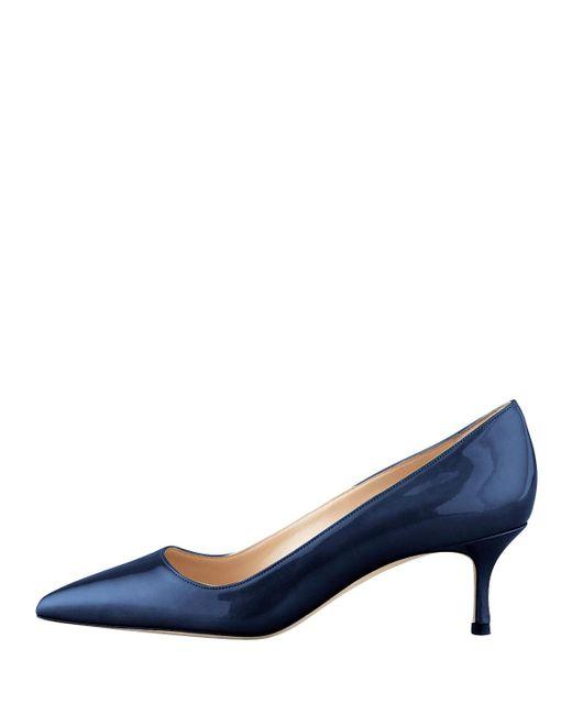 Manolo Blahnik   Blue Bb Patent Leather 50mm Pump   Lyst