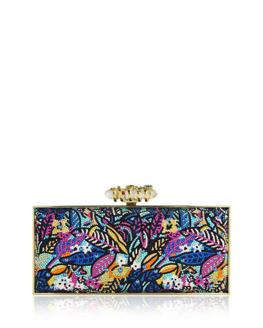 Judith Leiber - Blue Sea Jungle Large Coffered Rectangle Clutch Bag - Lyst