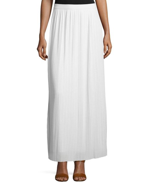 Joan Vass - Long Pleated Skirt White - Lyst