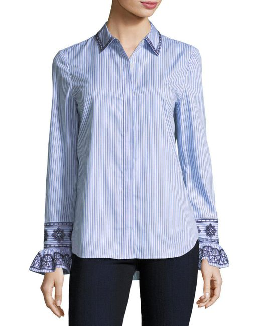 Tory Burch | Blue Paige Ombre-striped Embroidered Button-front Shirt | Lyst
